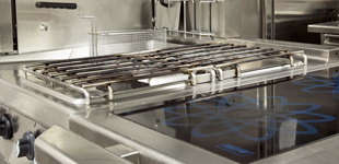 Stainless steel commercial kitchen hob