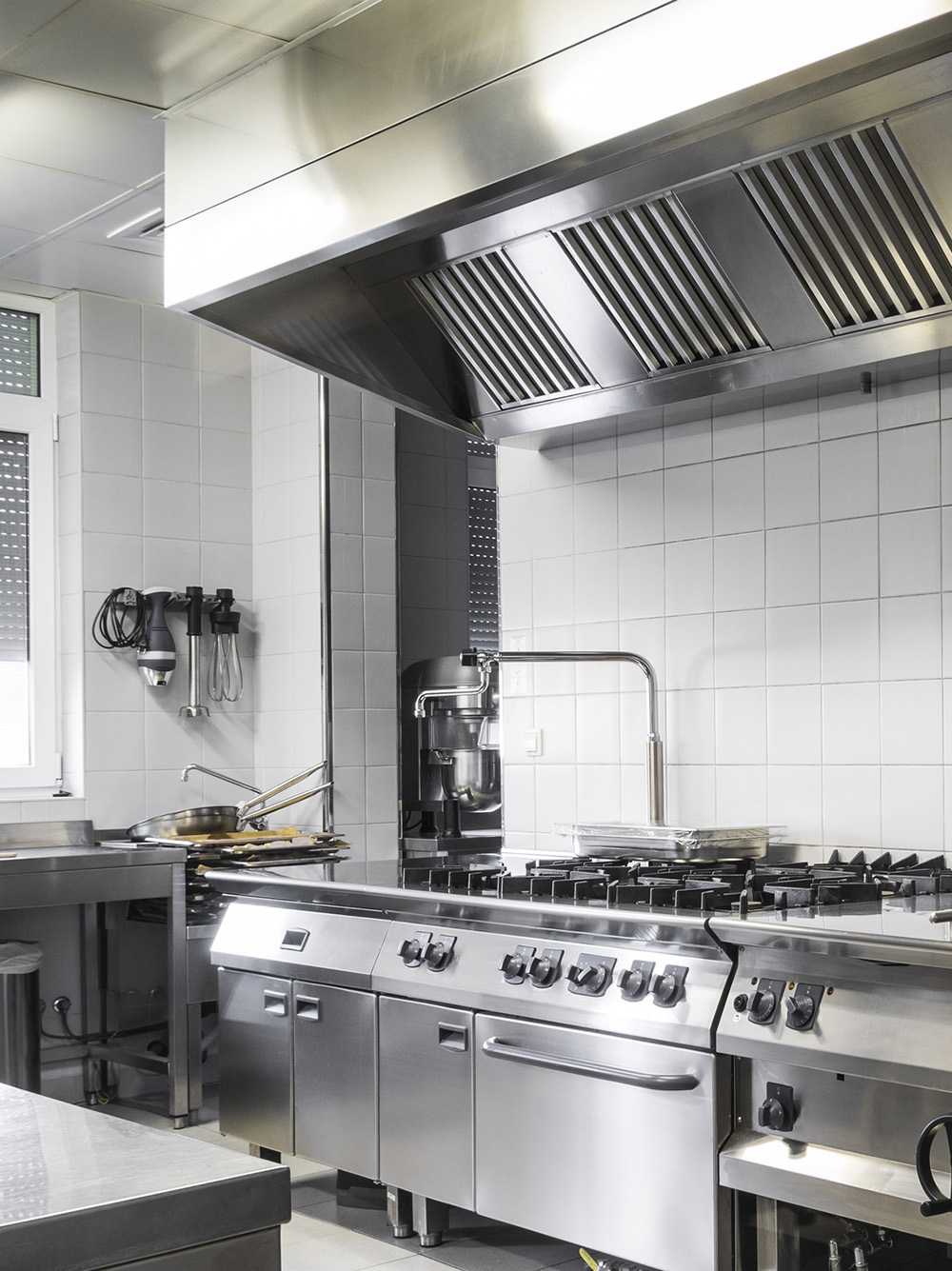 Modern industrial kitchen, white and silver interior